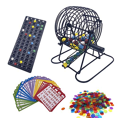 JUNWRROW Deluxe Bingo Game Set with 6 Inch Bingo Cage, Bingo Master Board,75 Colored Balls with a Bag, 50 Bingo Cards, and 500 6 Color Mix Bingo Chips with a Bag, Ideal for Large Groups
