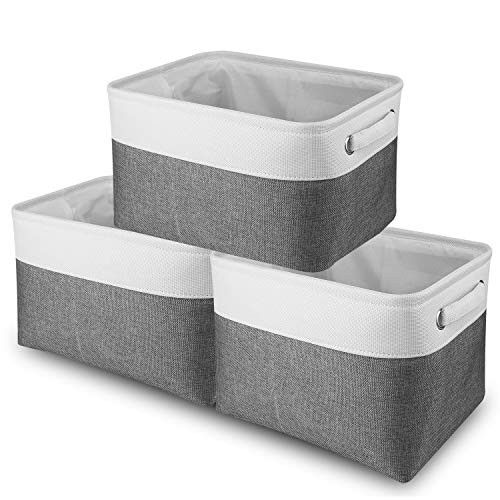 Fyore Linen Foldable Storage Bin Washable Clothes Large Organizer Box with Lid and Double Zippers Closure for Kids Toys Books Grey