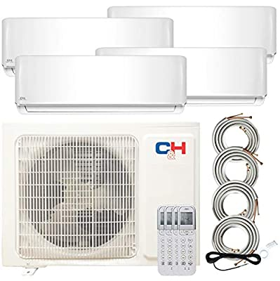 Quad 4 Zone 9000 9000 9000 18000 Ductless Heating and Cooling Mini Split Ductless Air Conditioner Heat Pump System
