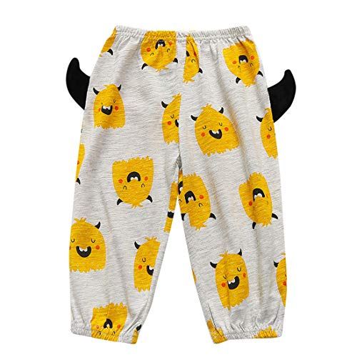 Child Kids Baby Girls Boys Elastic Long Pants Halloween Cartoon Demon Print Elastic Waist Trousers (Yellow, Age:18-24 Months)