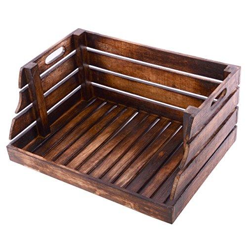 Divero Vintage Holzkiste Stapel-Kiste Spielzeug-Box Stiege braun geflammt Aufbewahrung 49x35x25,5cm Obst- und Gemüsekisten-Look