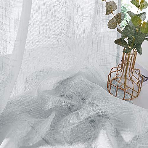 PONY DANCE 2 Stücke Kinderzimmer Gardinen Leinenoptik - Voile Vorhang Halbtransparent Gardinen Schlafzimmer Dekoschals Ösenvorhang Hellgrau, H 158 x B 132 cm