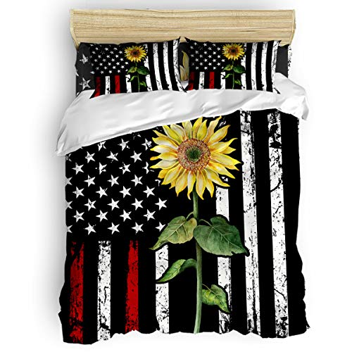 CHAOGO Duvet Cover Set 4 Piece-Ultra Soft Microfiber Lightweight,Rustic Farm Sunflower American Flag Red Luxurious Premium Bedding Sets California King Size,Comforter Cover with Zipper Closure