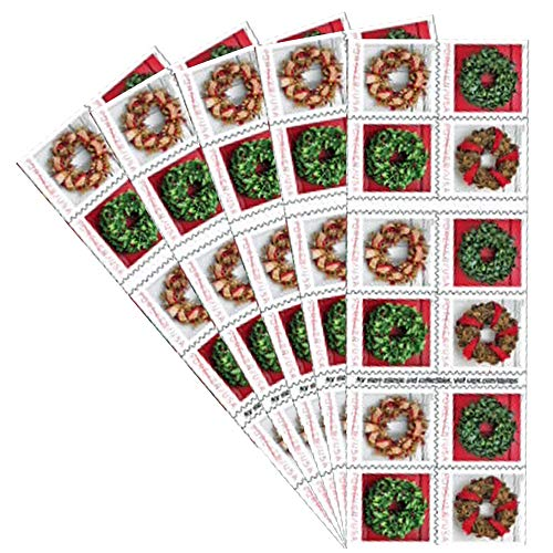 Holiday Wreaths 5 Books of 20 Forever US First Class Postage Stamps Christmas Tradition Celebration (100 Stamps)