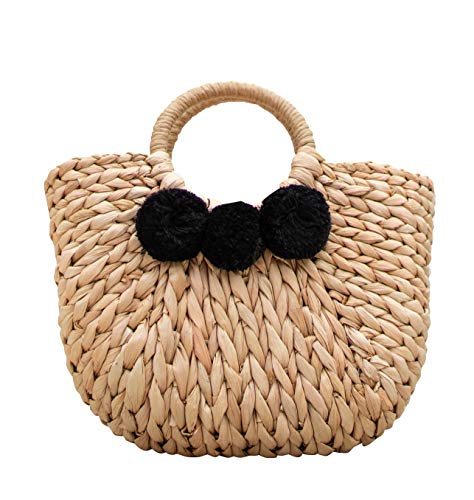 Sun Society Lagunita Woven Tote with black Poms, Straw tote bag, Summer bag, top handle