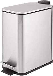 mDesign 1.3 Gallon Rectangular Small Steel Step Trash Can Wastebasket, Garbage Container Bin for Bathroom, Powder Room, Bedroom, Brushed Stainless Steel