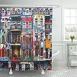 COFEIYISI Neueste Duschvorhänge Berlin 6. März Graffiti-Haus in Easten Stadt unter Künstlern Wasserdicht Bad Vorhang Waschbar Bad Vorhang Polyester Stoff mit 12 Haken 180x180 cm