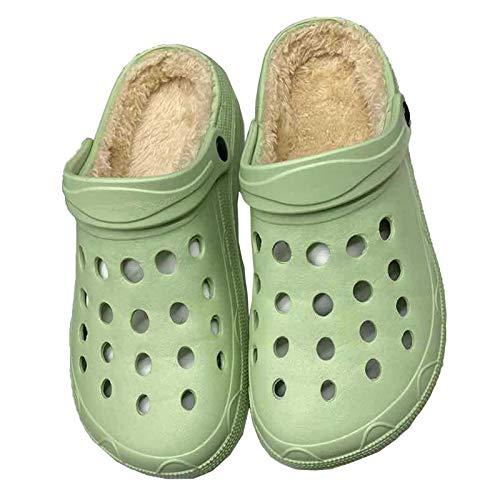 DALLL Pantuflas de invierno para hombre y mujer, cómodas pantuflas para exterior, impermeables, dos materiales cálidos, verde, 6,5