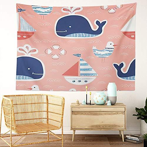 Y·JIANG Tapiz bonito caprichoso, crayones, ballenas, gaviotas, marinas, marinas, marinas, decoración para el hogar, dormitorio, 203 x 152 cm
