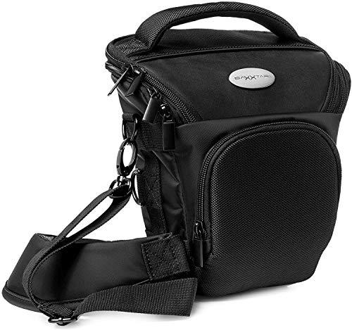Baxxtar PRO NOVO SLR bolsa para cámara Reflex negra (correa de hombro, correa de cadera, correa túnel) compatible con p.ej. Canon EOS 200D 850D 2000D 4000D - Nikon D5600 D3500 etc.