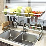 Over Sink(33') Dish Drying Rack, 2 Cutlery Holders Drainer...