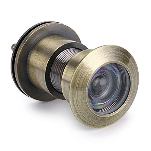 Ignion - Visor de puerta con agujero de 220 grados y tapa de privacidad para puertas de 42 mm a 55 mm, acabado cromado cepillado