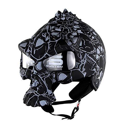LALEO Halloween Modelado de Calaveras Personalidad Vintage Harley Cascos Moto Half-Helmet, Cuatro Estaciones Hombres Mujeres Unisex Casco Scooter Casco Jet ECE Certificado M-XL (56-61cm),Matteblack,L