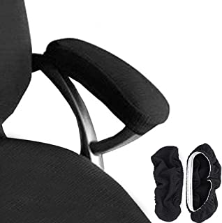 Melaluxe 2 Set Polyester Removable Durable Machine Washable Office Chair Armrest Slipcovers (Length-30cm) (Black)