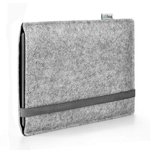 stilbag e-Reader Hülle Finn für Kobo Aura One | Wollfilz hellgrau/schwarz | Schutzhülle Made in Germany