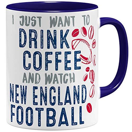 OM3® - New-England-Coffee - Tasse | Keramik Becher | American Football Mug | 11oz 325ml | Beidseitig Bedruckt | Dunkelblau