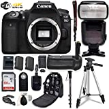 Canon EOS 90D Digital SLR Camera Bundle (Body Only) with Battery Grip & Professional Accessory Bundle (15 Items)