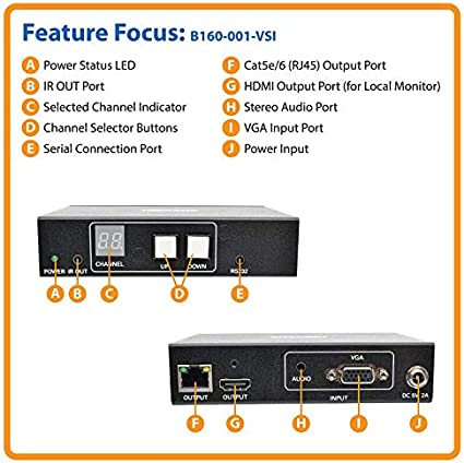 B160-101-HDSI Tripp Lite HDMI DVI Over IP Transmitter /& Receiver Kit w// RS-232 Serial /& IR Control 1080p 200M TAA