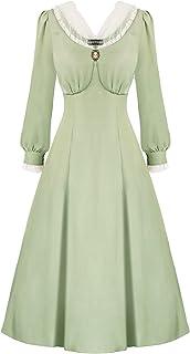 فستان كلاسيكي متوسط الطراز الطراز الطراز الفيكتوري للنساء من عمر الخمسينيات من سكارليت داركينز زي بايونير الاستعماري.
