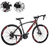 26 Inch Bike Aluminum Full Suspension Road Bikes Mountain Bike Dual Disc Brake, 21 Speed Bicycle, 700c for Men and Women (Black 2)