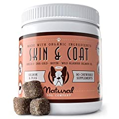 EFFECTIVE DOG SKIN & COAT SUPPLEMENT: Includes (1) 90 Count of Natural Dog Company Skin & Coat Supplement Chews that are ideal for dogs of any age and breeds and will support your dog's health from the inside out. PROMOTES HEALTHY SKIN & SHINY COAT: ...