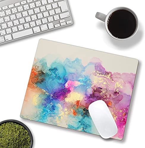"""Watercolor Pink Blue Gold Marble Mouse Pad, Colorful ATR Mouse Mat, Square Waterproof Mouse Pad Non-Slip Rubber Base MousePads for Office Home Laptop Travel, 9.5""""x7.9""""x0.12"""" Inch Photo #4"""