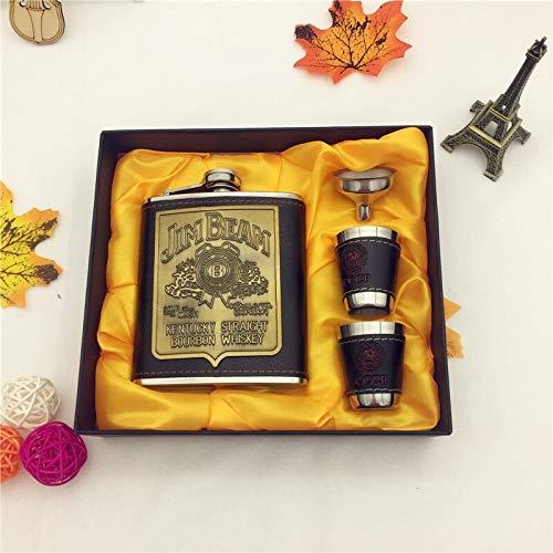 Petacas De Alcohol Ventas calientes bpa 7 oz whisky de garrafa CCCP Acero inoxidable petaca de alcohol set con la caja de regalo de cuero de la PU de envolver Petacas (Color : SET)