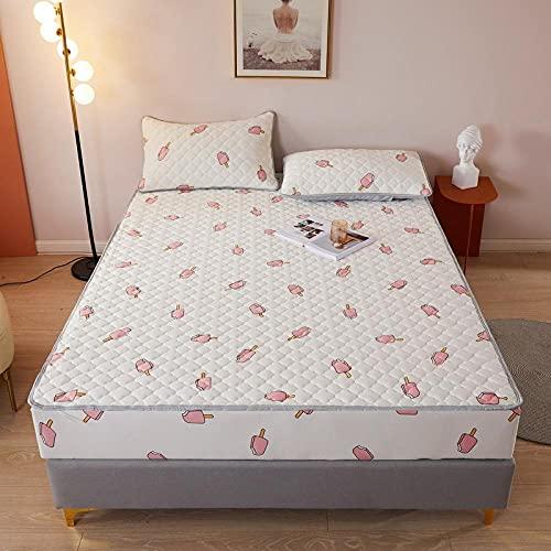 YFGY Laken Premium Textiles 150 * 200 cm, Cartoons Gestrickte Baumwolle Gesteppter Matratzenschoner, rutschfeste Tagesdecke Bettwäsche für Kinderzimmer Super King Ice Cream