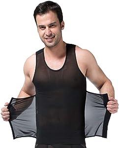 Rosie Mens Body Shaper Mesh Vest Tummy Control Slimming Abdomen Shirt Shapewear