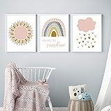JinYiGlobal Cuadro de Arte de Pared de niña con Estampado de Pintura para habitación de niños, decoración del hogar, Nubes de arcoíris Rosadas