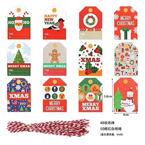HAPPKING 48/96 / 144PCS Christmas Small Tag Set Bunte Weihnachtsfeier Dekoration Tag Kreative Geschenkverpackung Segen Kleine Papierkarte (Farbe : Christmas, Größe : 144PCS Set)