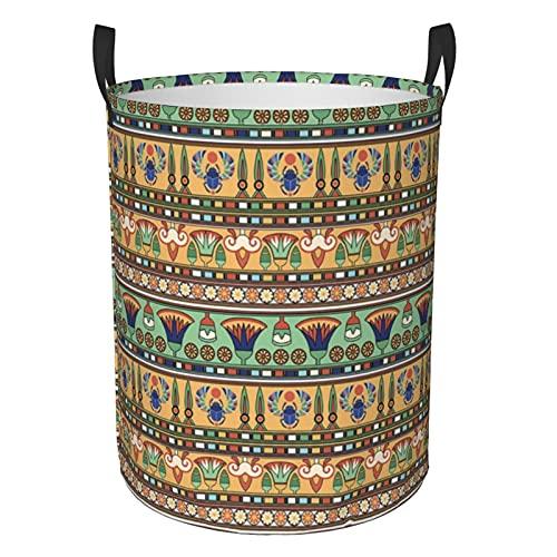 Cesta de lavandería grande plegable para ropa de cama, motivos étnicos egipcios, figuras de escarabajos, bolsa de ropa, bolsa de almacenamiento plegable impermeable para organizador de juguetes