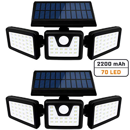 Otdair Solar Security Lights, 3 Head Motion Sensor Lights Adjustable 70LED Flood Lights Outdoor Spotlights 360° Rotatable IP65 Waterproof for Porch Garden Patio Yard Garage Pathway, 2 Pack
