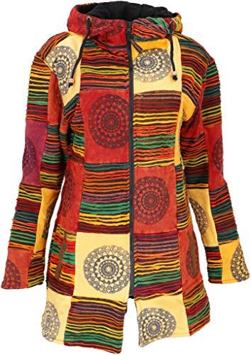 Guru-Shop Goa Patchwork Kurzmantel, Boho Hippie Jacke - Rostorange, Damen, Baumwolle, Size:XL (44), Boho Jacken, Westen Alternative Bekleidung