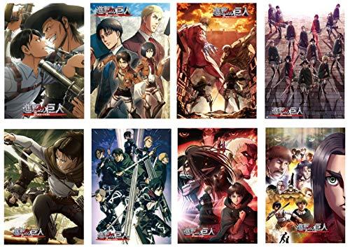 Toomilki Lot de 8 affiches d'animation japonaise « Attack On Titan » pour décoration murale, 29,2 x 41,9 cm