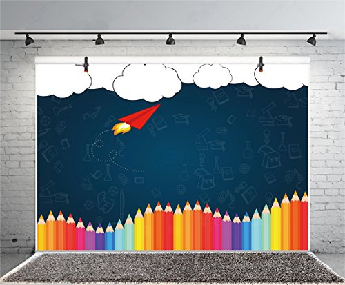 Leyiyi 5x3ft Welcome Back to School Photography Background Old Classroom Chalk Board Blackboard Colored Pens Back Season Grunge Gaffiti Paper Plane Backdrop Students Photo Portrait Vinyl Studio Prop