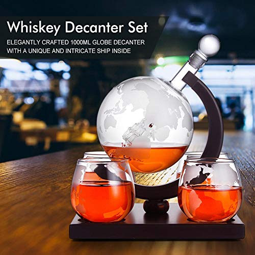 1000ml Whisky Decanter Globe Set, wijn en whisky karaf met houten structuur voor sterke drank, Scotch, Bourbon, met 4 kopjes