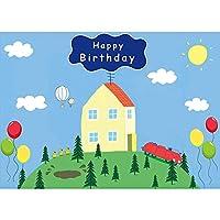 GooEoo 9x6ft 漫画のデザインテーマスタイル家の木青空写真背景子供の誕生日パーティー写真ブースブース背景家族休暇誕生日パーティー写真ビニール素材