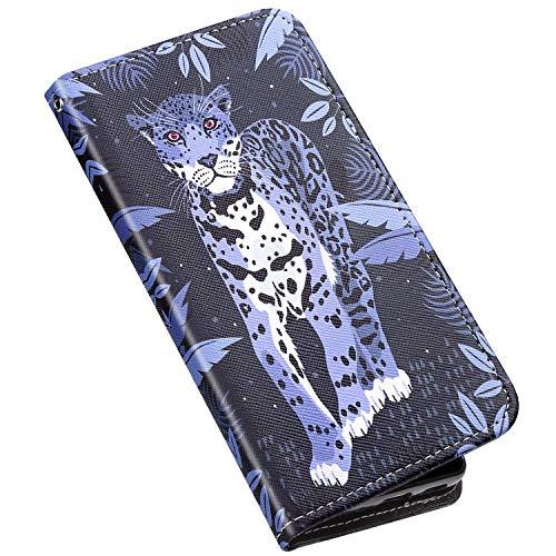 Samsung Galaxy A30S Hülle,Galaxy A50/Galaxy A50S Hülle Ledertasche Klappbar Brieftasche,Bunt Bemalt Muster PU Leder Handy Tasche Kartenfächer Handyhülle Schutzhülle Wallet Flip Case,Leopard