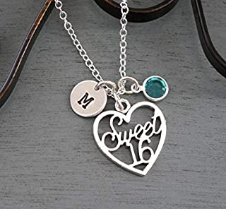 Sweet 16 Necklace - Personalized Sweet 16 Necklace - Initial Necklace - Sweet 16 Jewelry - Silver - 16 Birthday Gifts - Custom - Birthstone Necklace - Unique