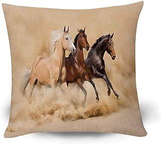 YOLIYANA Horses Fashional Throw Pillow,Three Horse Running in Desert Storm Mythical Mystic Messenger Animals Habitat Print for Living Room Bedroom,17.7