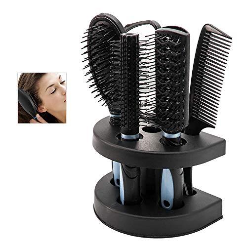 Lot de 5 peignes à cheveux avec miroir et support de support de brosses à cheveux professionnel de massage peignes cosmétiques pour adultes enfants