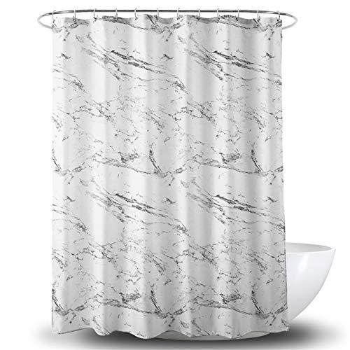 Nyescasa Duschvorhang Textil 180x200 cm Grau Weiß Marmor Anti-Schimmel Wasserdicht Waschbar Duschvorhänge mit 12 Duschvorhangringen & Beschwertem Saum für Badewanne & Dusche in Badezimmer