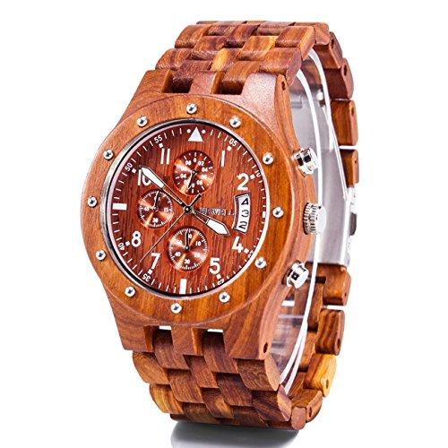 BEWELL Herren Uhr Analog Japanisches Uhrwerk mit Sandelholz Armband Multi Funktionen W109D