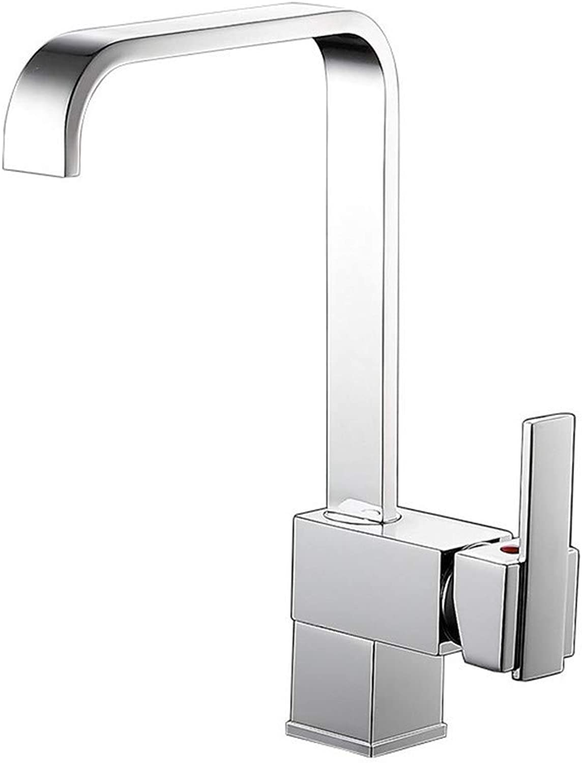 Square copper kitchen faucet, hot and cold water faucet, bathroom faucet