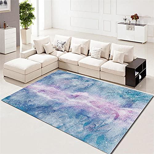 Alfombra Infantil Resumen Cielo Estrellado patrón Azul púrpura Blanco Alfombra Dormitorio Infantil 80X160cm