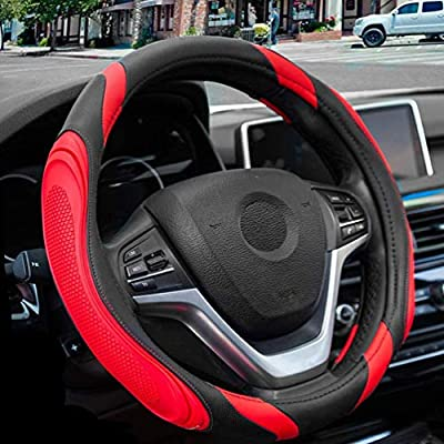 Red Steering Wheel Cover - Universal 15 Inch Sports Design Non-Slip Leather for Truck SUV Car