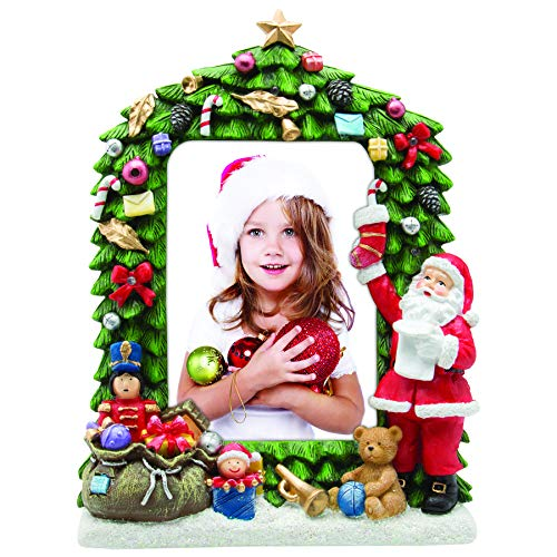 """Fine Photo Gifts 4"""" x 6"""" Light Up Christmas Tree Resin Picture Frame"""