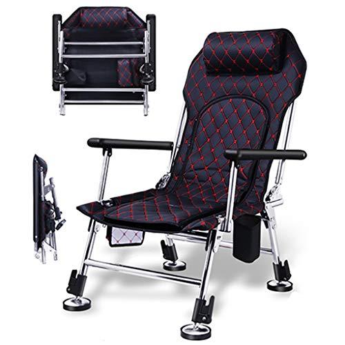 Chaise Pêche Pêche à la Carpe Reclining Plage Chaise extérieur Chaise de Camping Portable Esquisser Président Envoyer Sac à Dos (Color : Black, Size : 42 * 52 * 90cm)