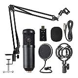 Suspensión BM800 Profesional Kit de micrófono Transmisiones en vivo de grabación Micrófono condensador Set para Podcast Grabación Entrevista (Color : Black)